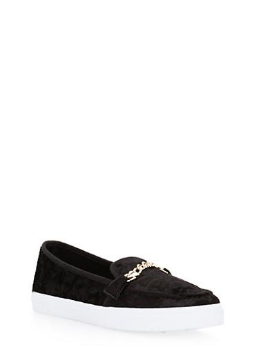 Chain Detailed Loafers,BLACK VELVET,large