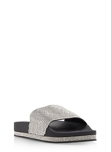 Rhinestone Slides,BLACK/BLACK,large