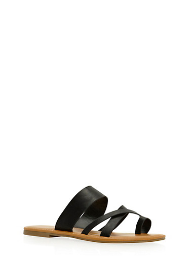 Toe Ring Strappy Slide Sandals,BLACK BNH,large