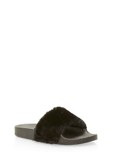 Single Strap Faux Fur Slides,BLACK/BLACK,large