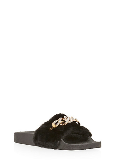 Faux Fur Slides with Rhinestone Chain Link Accent,BLACK FUR,large