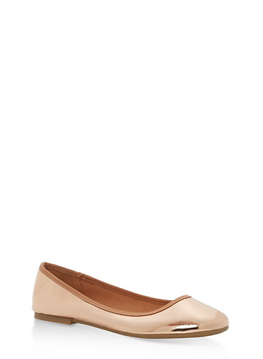 Round Toe Skimmer Flats,ROSE GOLD PATENT,large