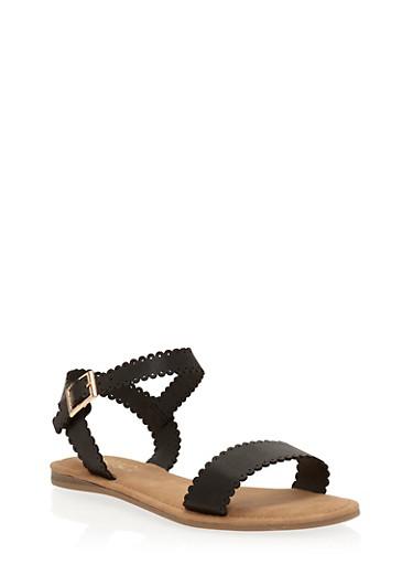 Lasercut Faux Leather Flat Sandals,BLACK,large