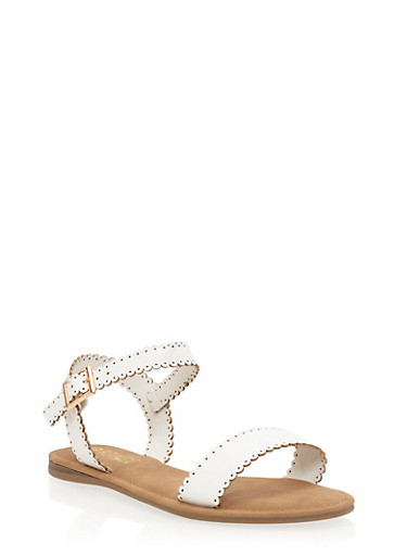Lasercut Faux Leather Flat Sandals,WHITE,large