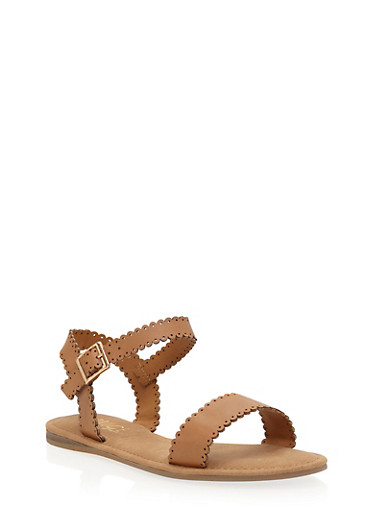Lasercut Faux Leather Flat Sandals,TAN,large