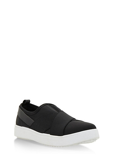 Double Strap Slip On Sneakers,BLACK LYC,large