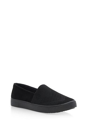 Knit Slip On Sneakers,BLACK KNIT,large