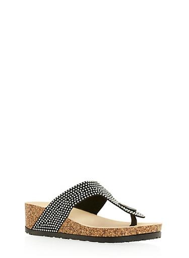 Beaded Thong Sandals,BLACK,large