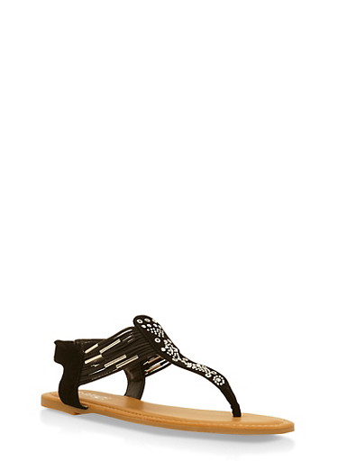 Studded Thong Sandals with Elastic Straps,BLACK,large