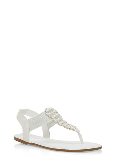 Studded Rhinestone Thong Sandals,WHITE F/S,large
