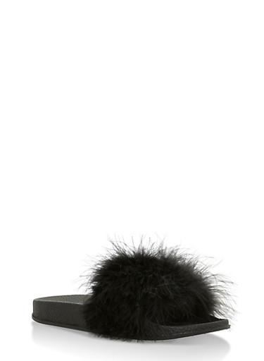 Furry Strap Slides,BLACK,large