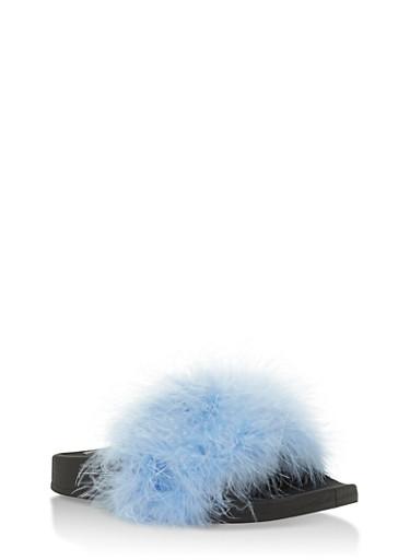 Furry Strap Slides,LIGHT BLUE,large