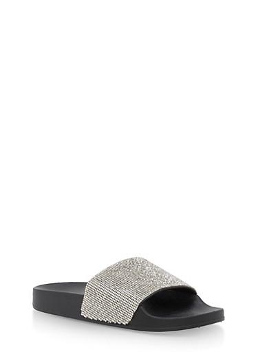 Rhinestone Studded Slides,BLACK,large
