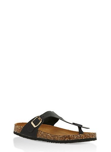 Cork Sole Thong Slide Sandals,BLACK,large