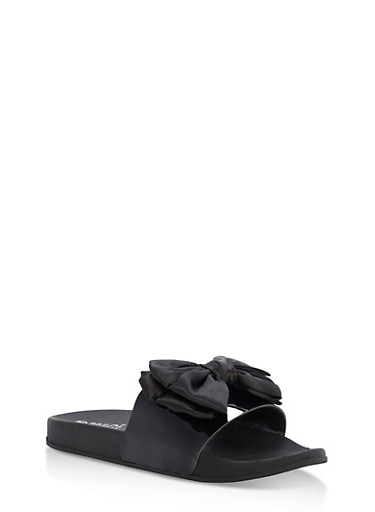 Satin Bow Slides,BLACK,large