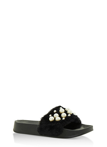 Faux Fur Slides with Pearls,BLACK,large