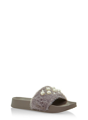 Faux Fur Slides with Pearls,LIGHT GRAY,large