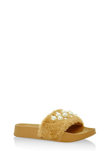 Faux Fur Slides with Pearls,BEIGE,large