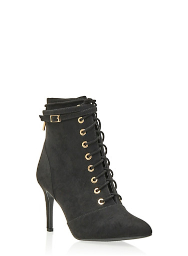 Faux Suede Ankle Boots with Lace-Up Front,BLACK,large