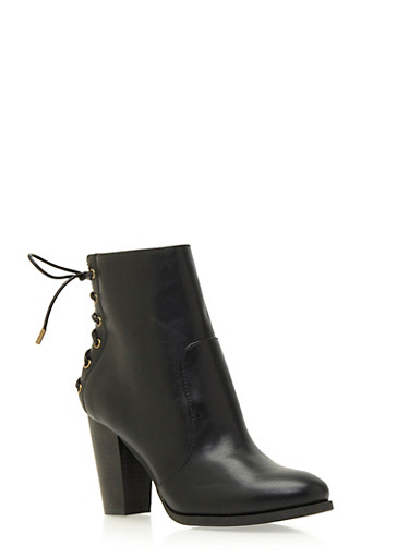 Faux Suede Ankle Boots with Lace-Up Back,BLACK PU,large