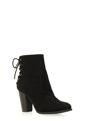Ankle Boots with Lace-Up Back,BLACK F/S,large