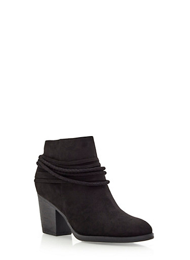 Ankle Boots with Fixed Straps,BLACK,large