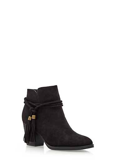Ankle Boots with Braided Tassel Fringe,BLACK,large