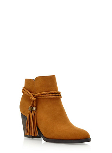 Ankle Boots with Braided Tassel Fringe,COGNAC,large