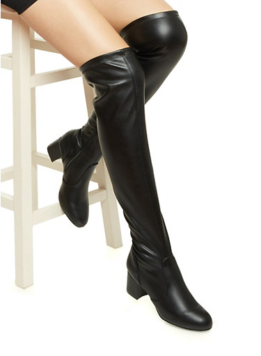 Faux Leather Over-the-Knee Boots with Round Toes,BLACK STRETCH PU,large