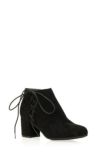 Faux Suede Ankle Boots with Side Lace Accent,BLACK,large