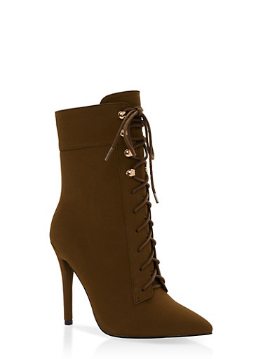 Lace Up High Heel Booties with Side Zipper,OLIVE NUBUCK,large