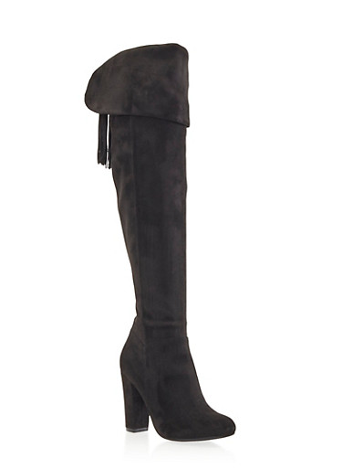 Over the Knee Boots with Lace-Up Tassel Back,BLACK F/S,large