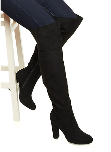Faux Suede Knee-High Boots with Metallic Studs at Back,BLACK F/S,large