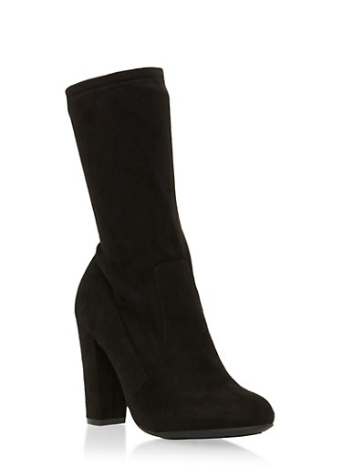 Faux Suede Mid-Calf Boots with Round Toes,BLACK F/S,large