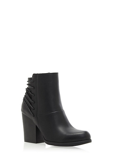 Faux Leather Ankle Boots with Fixed Lace Detailing,BLACK,large