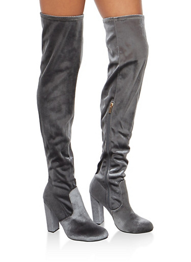 Over the Knee High Heel Boots,GRAY VELVET,large