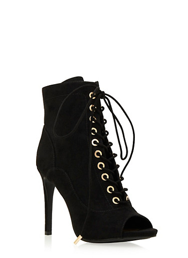 Faux Suede Ankle Boots with Lace-Up Front,BLACK F/S,large