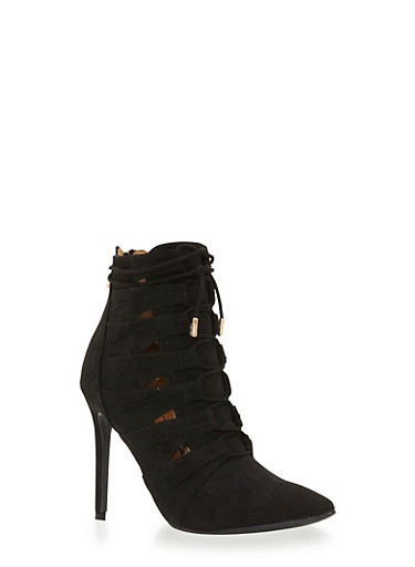 Faux Suede Ankle Boots with Triangle Cutouts and Lace-Up Front,BLACK  F/S,large