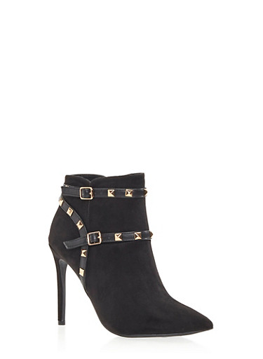 Faux Suede Booties with Goldtone Pyramid Stud Accents,BLACK F/S,large