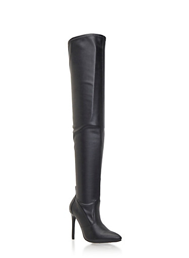 Over-The-Knee Boots with Pointed Toes,BLACK PU,large