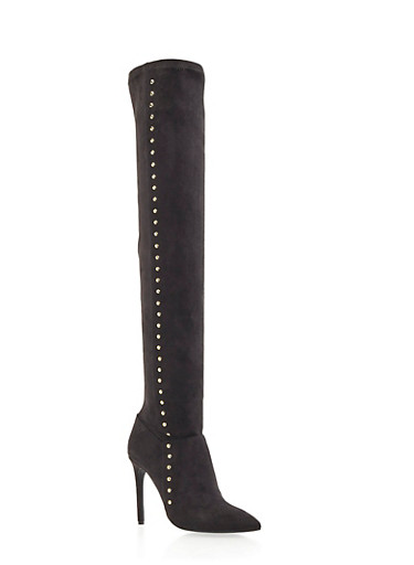 Faux Suede Over the Knee Boots with Goldtone Studs,BLACK F/S,large