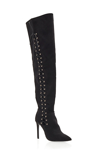 Lace-Up Thigh High Stiletto Boot with Pointed Toe,BLACK F/S,large