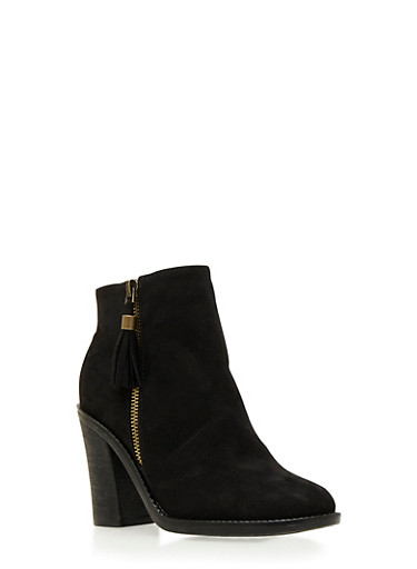 Faux Suede Ankle Boots with Tassel and Chunky Heels,BLACK F/S,large