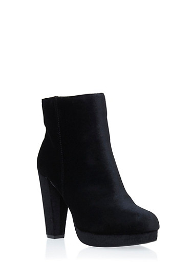 Platform Ankle Boots with Round Toes,BLACK VELVET,large