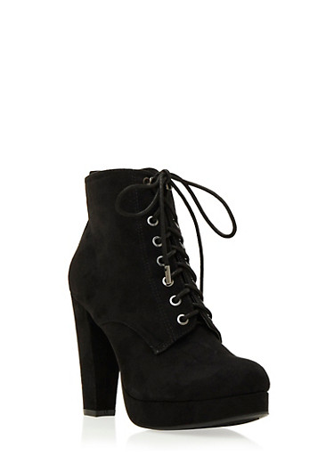 Faux Suede Platform Ankle Boots with Lace-Up Front,BLACK,large