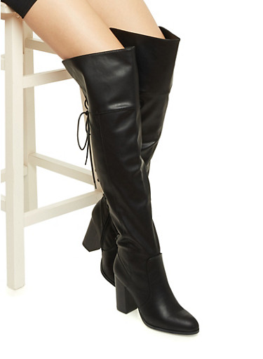 Faux Leather Knee-High Boots with Stacked Heels,BLACK  PU,large
