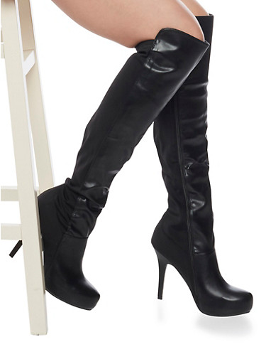 Thigh High Boots in Mixed Fabric,BLACK PU,large