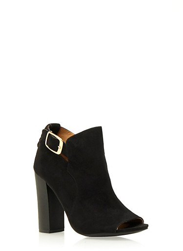 Faux Suede Open-Toe Booties,BLACK,large