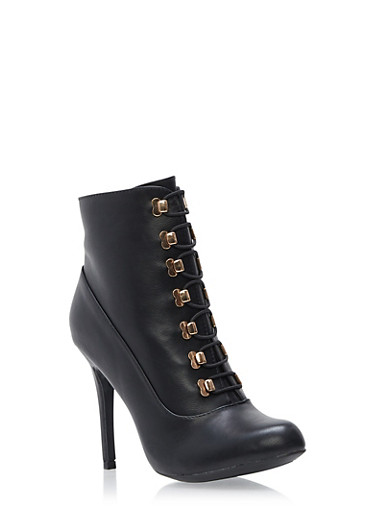 Riveted Lace Up High Heel Booties,BLACK,large