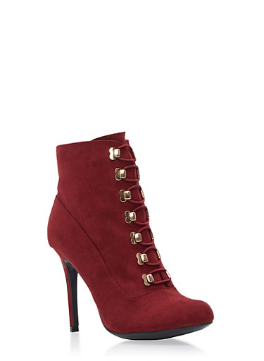 Riveted Lace Up High Heel Bootie